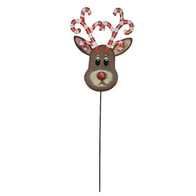"""Home & Garden 42.5"""" Candy Cane Reindeer Yard Stake Christmas Round Top Collection  -  Decorative Garden Stakes"""