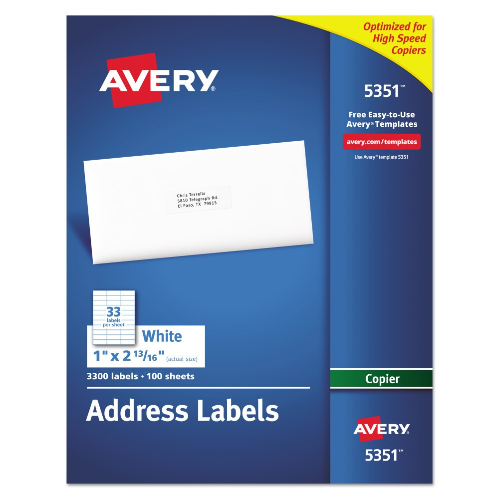 Avery 1 x 2-13/16 Self-Adhesive Copiers Address Labels - White (3300 Per Box) Get your mail ready at a moment's notice with these white address labels. They make it easy to ship products and send invoices on the spot. Create a master sheet of labels or use mail merge to reach your entire customer base. Free templates and designs from Avery Design and Print will help take care of margin settings and spacing. All you do is fill in names and addresses, print through a copier and apply. This product was made from wood sourced from a certified managed forest. Label Size - text: 1 x 2 13/16; Label Color(s): White; Machine Compatibility: Copiers; Sheet (W x L): 8 1/2 x 11.