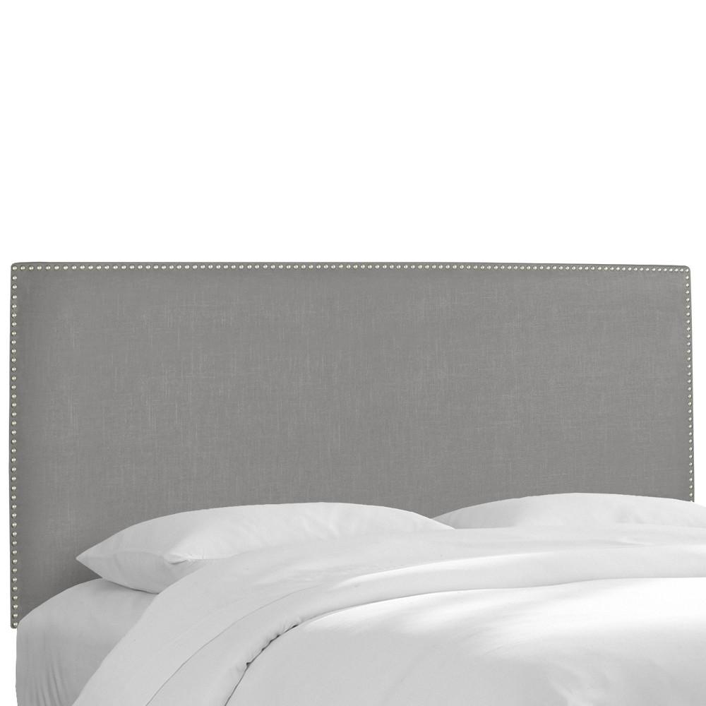 Custom Upholstered Nail Button Border Headboard - Linen Gray - California King - Skyline Furniture