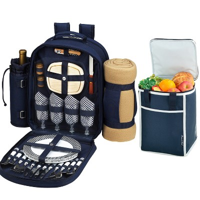 Picnic at Ascot Original Equipped Picnic Backpack for 4 with Blanket & Extra Separate Bonus Cooler