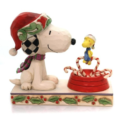 Christmas Snoopy.Jim Shore 5 25 Candy Cane Christmas Snoopy Woodstock