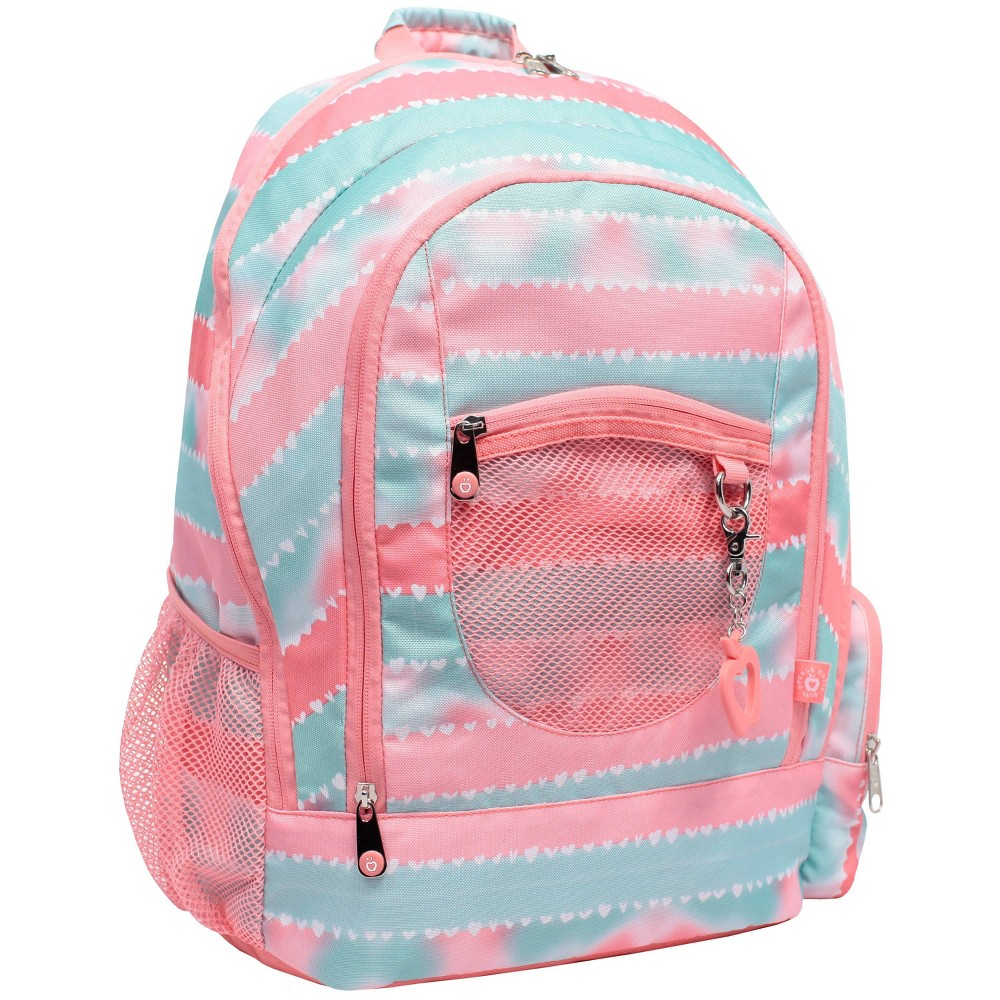 """Image of """"Double Dutch Club 18"""""""" Stripe Print Backpack - Coral, Size: Large, Orange"""""""