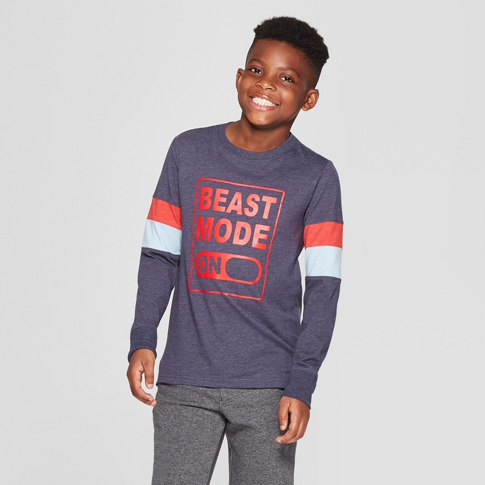 Boys' Long Sleeve Beast Mode Graphic T-Shirt - Cat & Jack Navy L, Blue