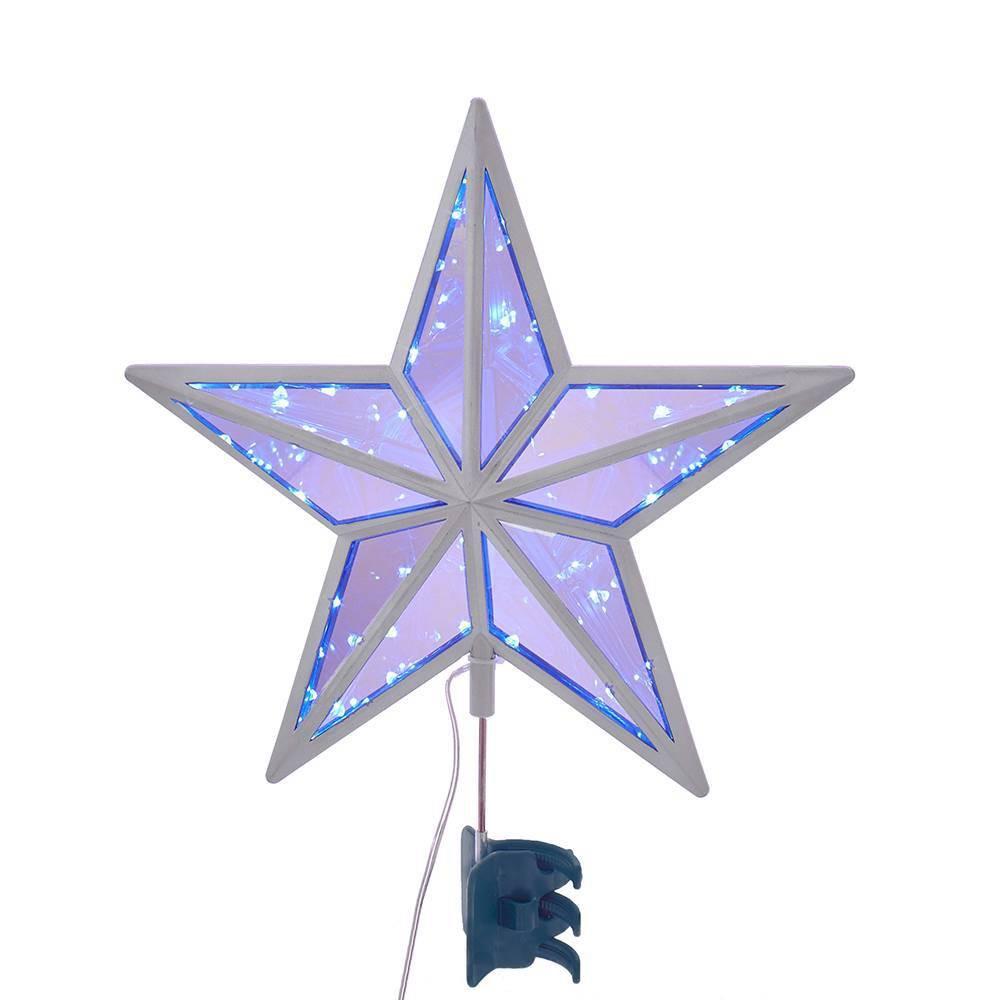 """Image of """"11"""""""" Kurt Adler LED Twinkle Cool White Mirror Star Tree Topper"""""""
