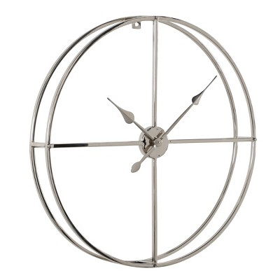 "30"" x 30"" Modern Round Metal Floating Wall Clock Silver - Venus Williams Collection"