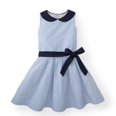 Hope & Henry Girls' Blue Peter Pan Collar Seersucker Dress For Kids