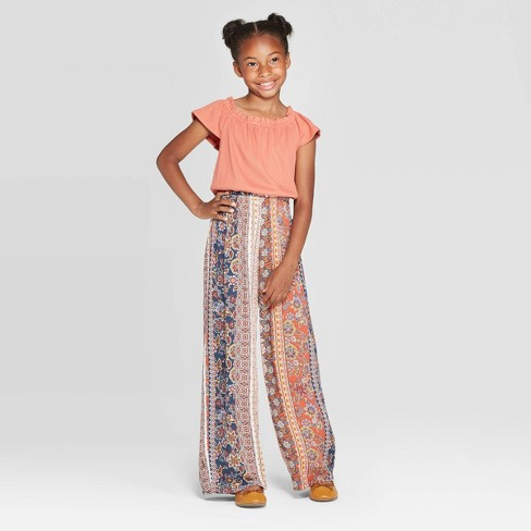 Girls' Knit to Woven Jumpsuit - art class™ Brown - image 1 of 3