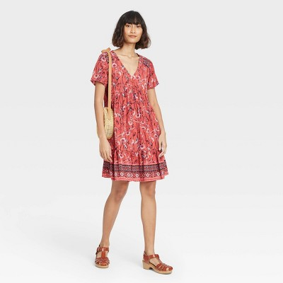 Women's Floral Print Short Sleeve Shift Dress - Knox Rose™