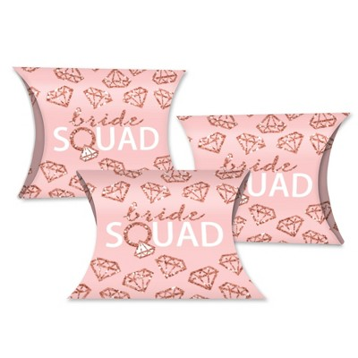 Big Dot of Happiness Bride Squad - Favor Gift Boxes - Rose Gold Bridal Shower or Bachelorette Party Petite Pillow Boxes - Set of 20