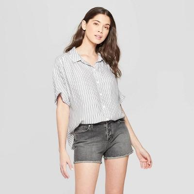 Women's Striped Short Sleeve Collared Camp Shirt - Universal Thread™ Black/White L