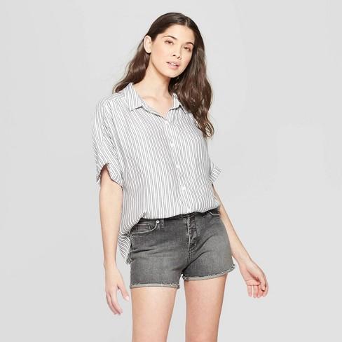 Women S Striped Short Sleeve Collared Camp Shirt Universal Thread Black White Target