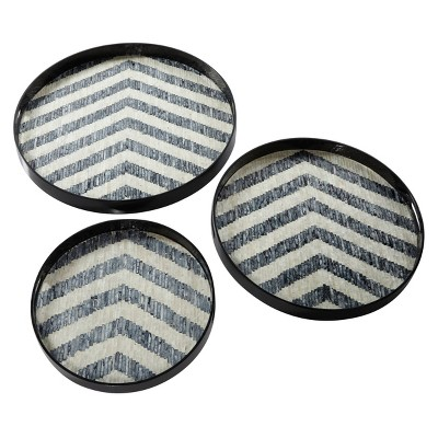 Set of 3 Round Pearl and Gray Capiz Shell Serving Trays - Olivia & May