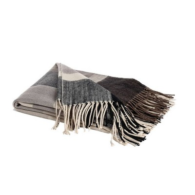 """50""""x60"""" Classic Plaid Throw With Fringe Black/Gray - Sure Fit : Target"""