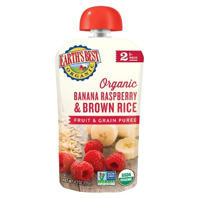 Earth's Best Organic Banana Raspberry & Brown Rice Baby Food Pouch - 4.2oz