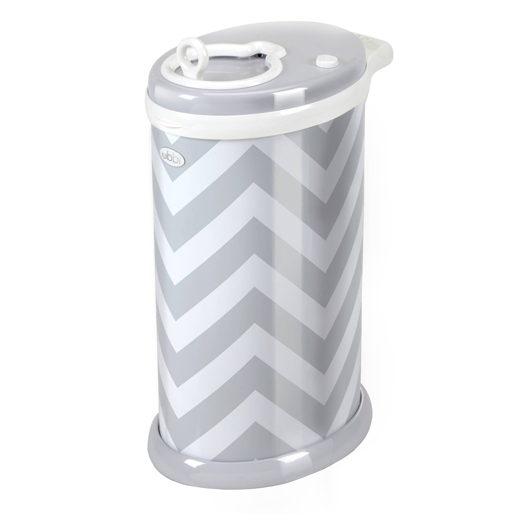 Image of Ubbi Steel Diaper Pail - Grey Chevron, Gray