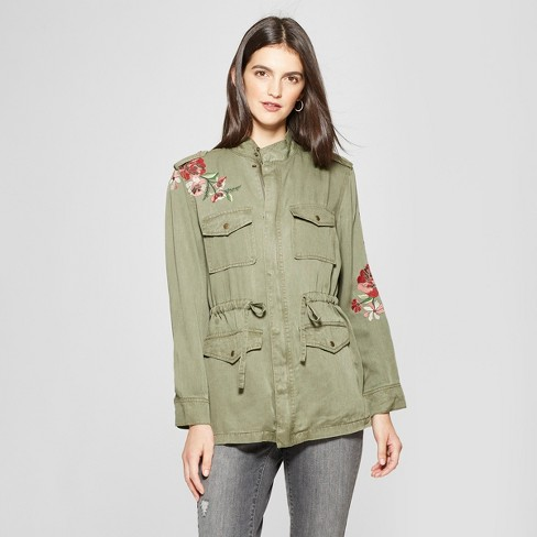 Women's Long Sleeve Embroidered Military Jacket - Knox Rose™ Olive - image 1 of 2