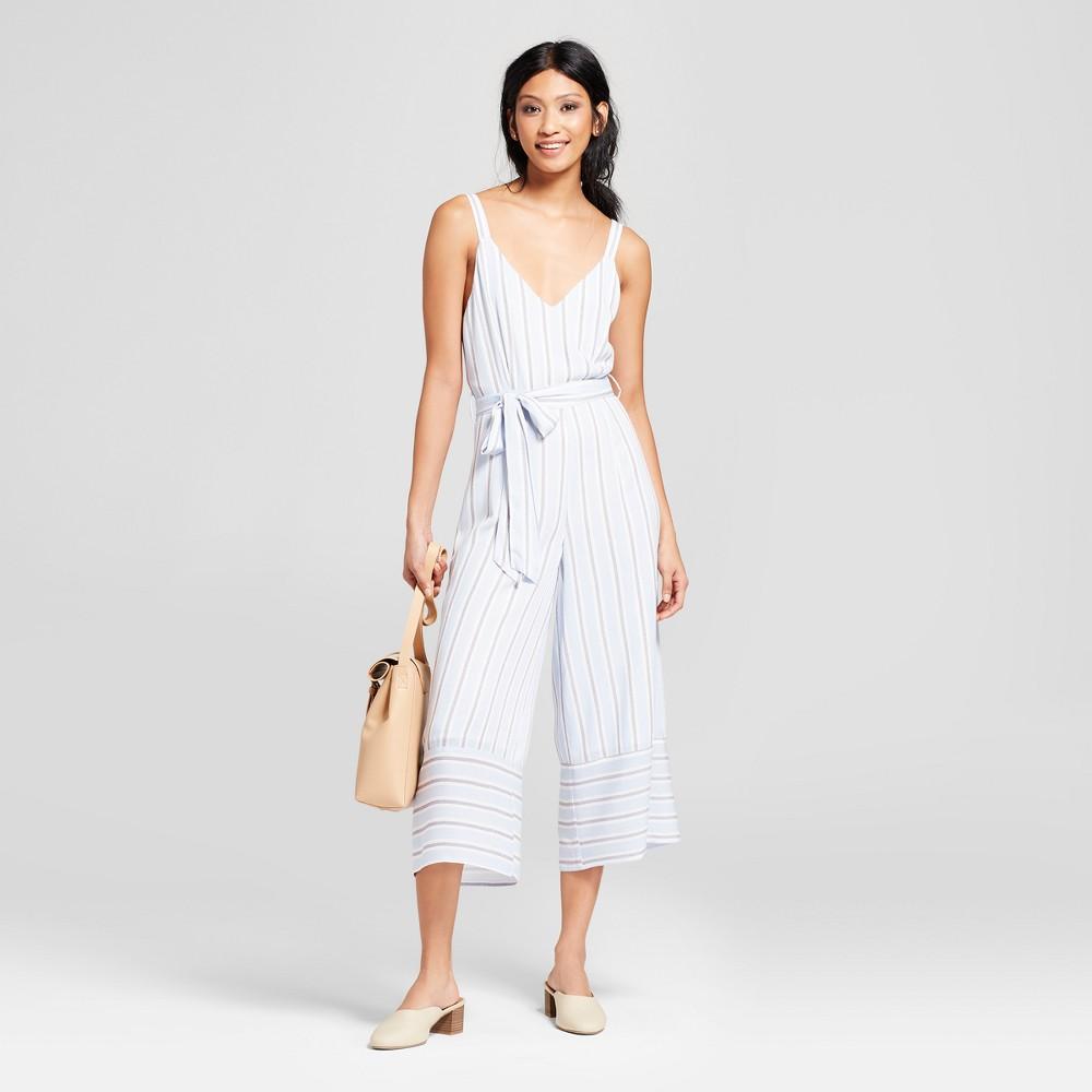 Women's Striped Sleeveless Jumpsuit - Needlework Blue/White S