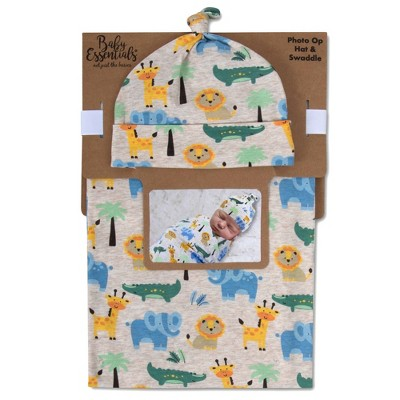 Baby Essentials Safari Print Swaddle Blanket and Cap