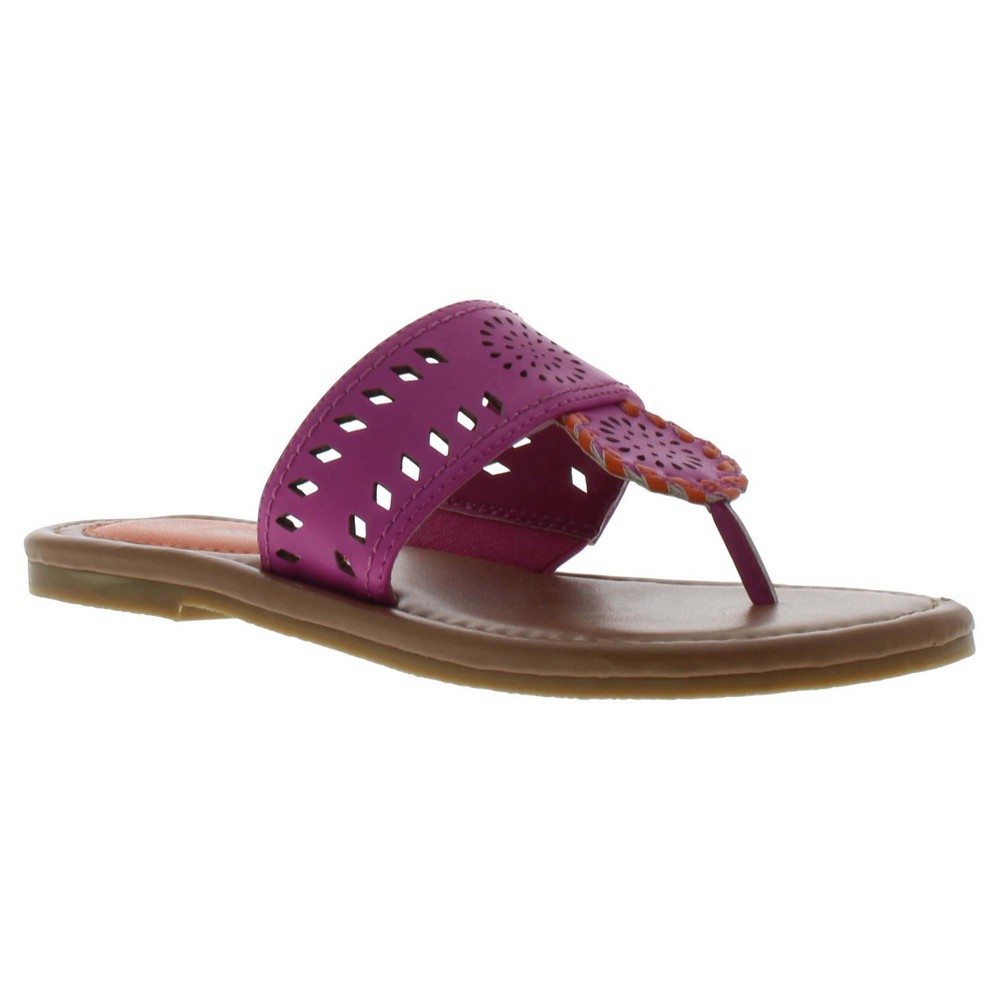 Girls' Sam & Libby Athena Thong Flip Flop Sandals With Chop Out - Hot Pink 13