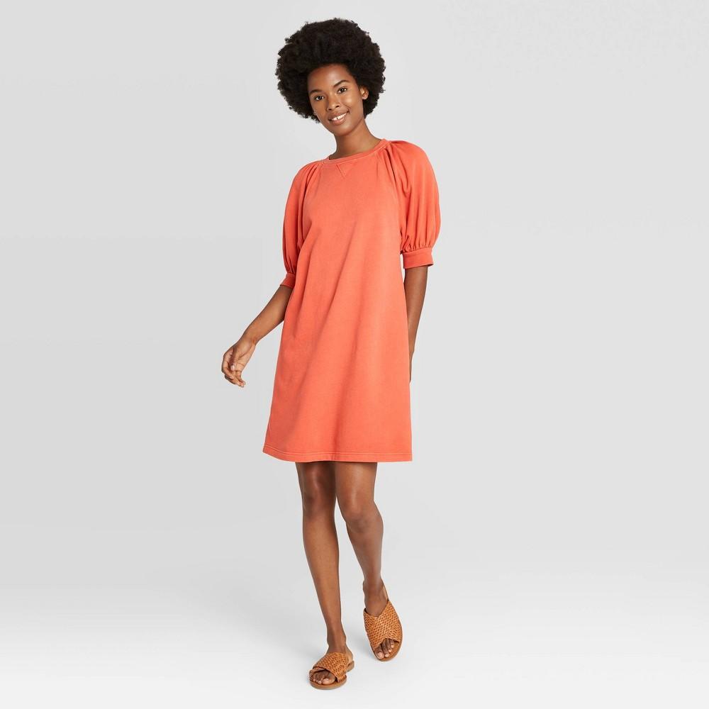 Women 39 S Puff Short Sleeve T Shirt Dress Universal Thread 8482 Coral S