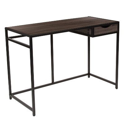 Flash Furniture Homewood Collection Driftwood Finish Computer Desk with Pull-Out Drawer and Black Metal Frame