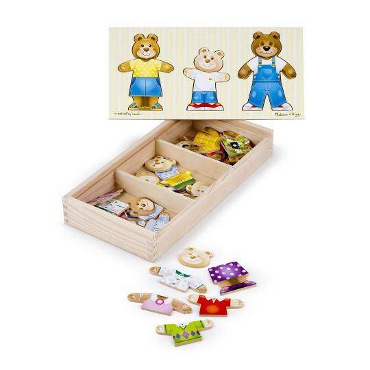Melissa & Doug Mix 'n Match Wooden Bear Family Dress-Up Puzzle With Storage Case (45pc) image number null