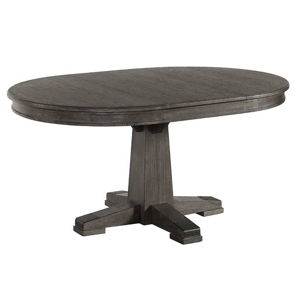 Image of Foundry Round Table With Pedestal Base Brushed Pewter - Intercon