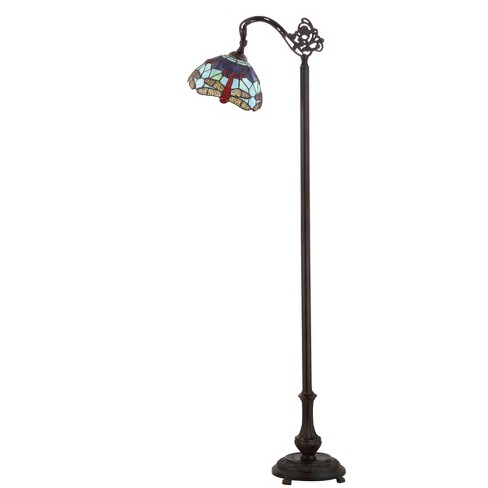 """60"""" Dragonfly Tiffany Style 60"""" Arched LED Floor Lamp Bronze (Includes Energy Efficient Light Bulb) - JONATHAN Y - image 1 of 4"""