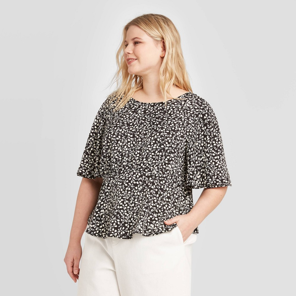 Women's Plus Size Floral Print Short Sleeve Blouse - Who What Wear Black 4X was $24.99 now $14.99 (40.0% off)