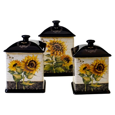 Certified International French Sunflowers Canisters - Set of 3 (56, 60, 96 oz.)