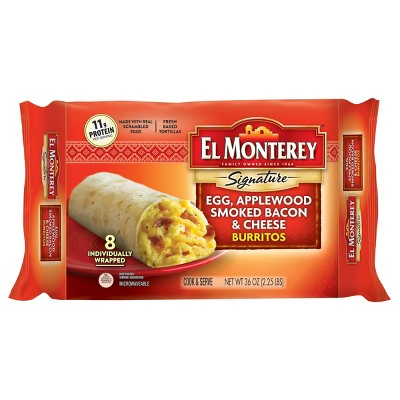 El Monterey Egg & Bacon Frozen Burritos - 36oz/8ct