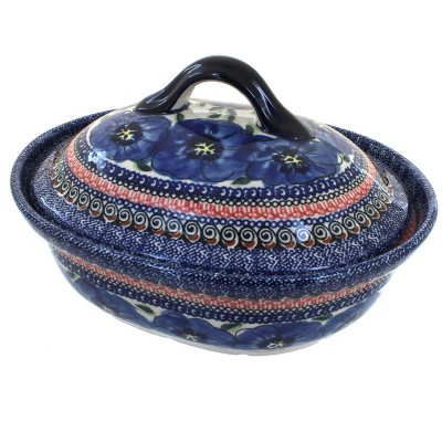 Blue Rose Polish Pottery Blue Art Small Oval Baker with Lid