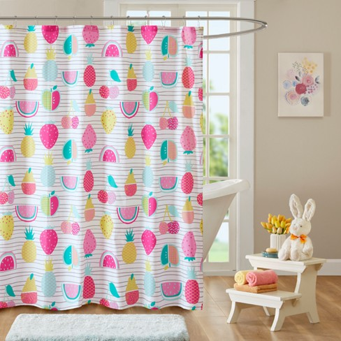 Razzle Dazzle Cotton Printed Shower Curtain Red Yellow