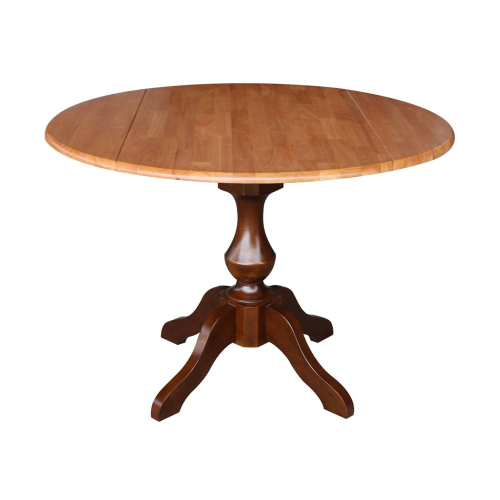 "Image of ""30.3"""" Gracelyn Round Dual Drop Leaf Pedestal Table Cinnamon/Espresso - International Concepts, Size: 30.3""""H"""