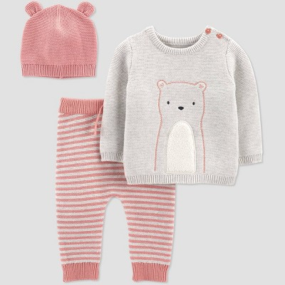 Baby Girls' 3pc Bear Sweater Top & Bottom Set - Just One You® made by carter's Pink 3M