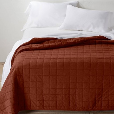 Full/Queen Heavyweight Linen Blend Quilt Dark Clay - Casaluna™