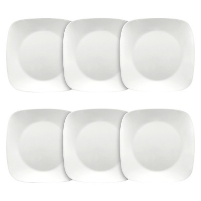 "Corelle Square Lunch Plates White - 9""x9"" Set of 6"