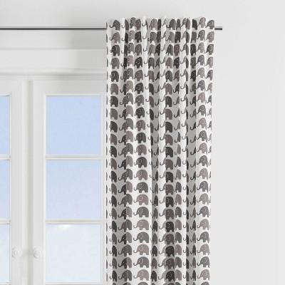 Bacati - Elephants White/Grey Curtain Panel