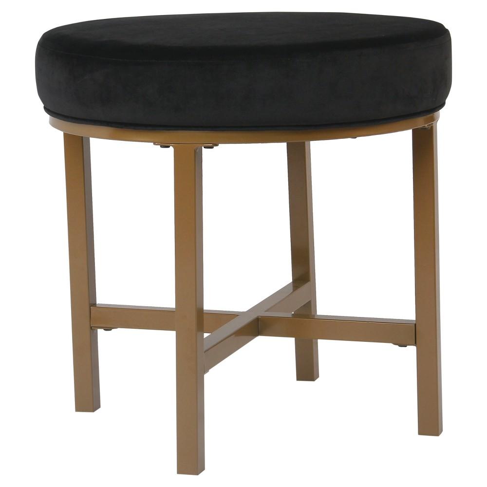 Round Velvet Ottoman - Black - HomePop