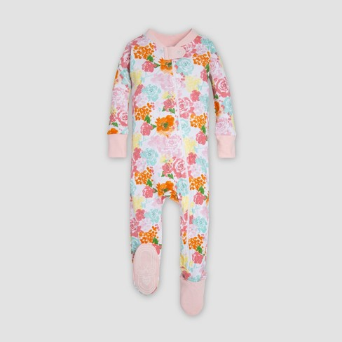 ea3670e16 Burt s Bees Baby® Baby Girls  Floral Organic Cotton Sleeper - Peach ...