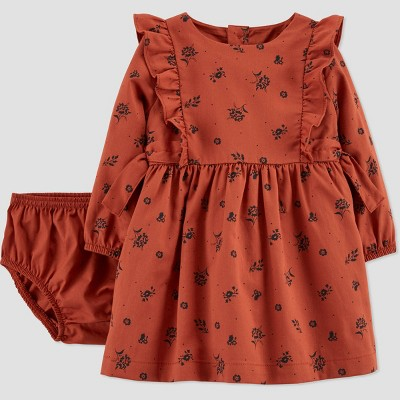 Baby Girls' Floral Twill Long Sleeve Dress with Diaper Cover - Just One You® made by carter's Brown 12M