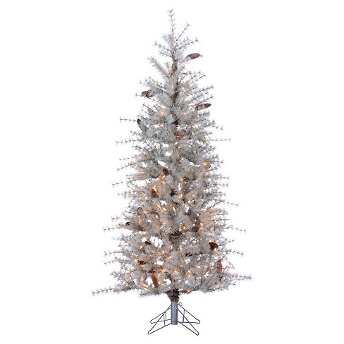 6ft Pre-Lit Artificial Christmas Tree Pine Frosted Sage Slim Needle - White Lights - image 1 of 1