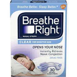 Breathe Right Clear Small/Medium Drug-Free Nasal Strips for Congestion Relief - 30ct