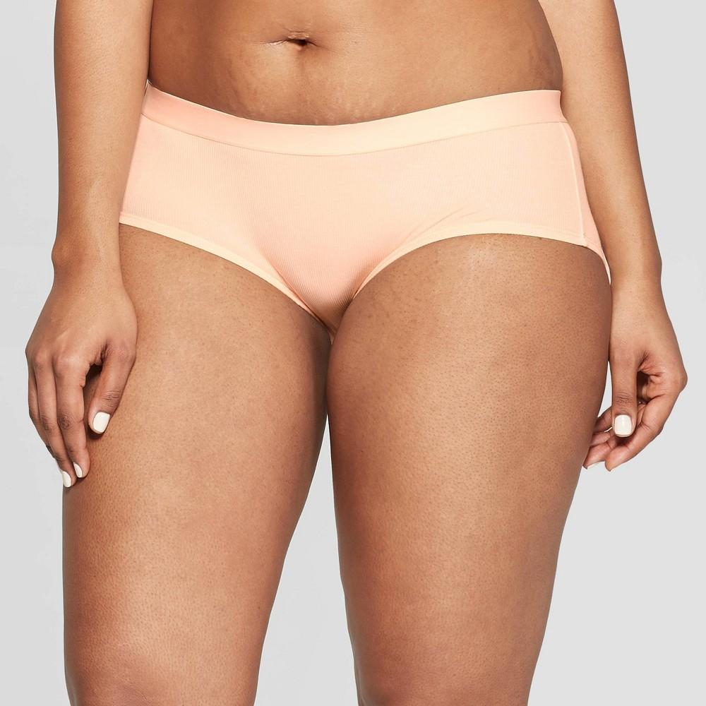 Women's Ribbed Cotton Hipster - Auden Honeysuckle Peach L