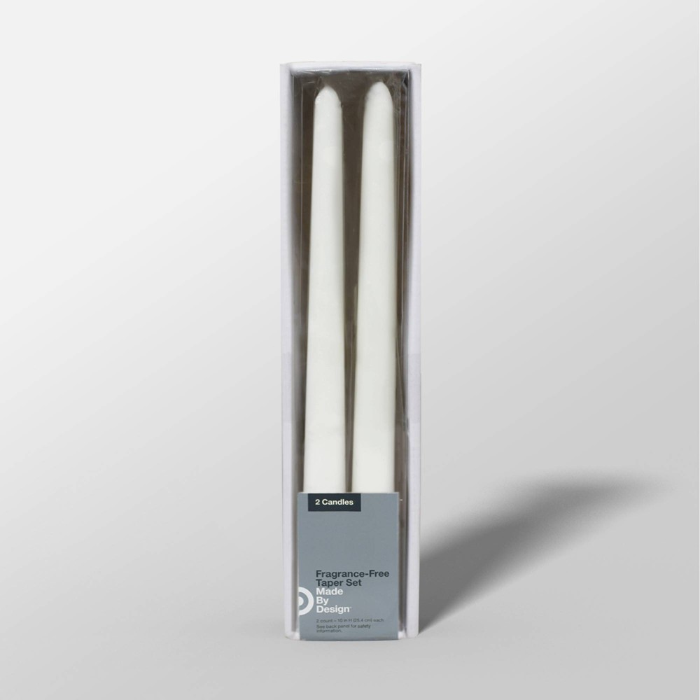 "Image of ""10"""" 2pk Unscented Taper Candle Set White - Made By Design"""