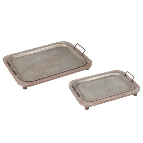Metal Decorative Tray Set - Light Silver - Foreside Home&Garden - image 1 of 4