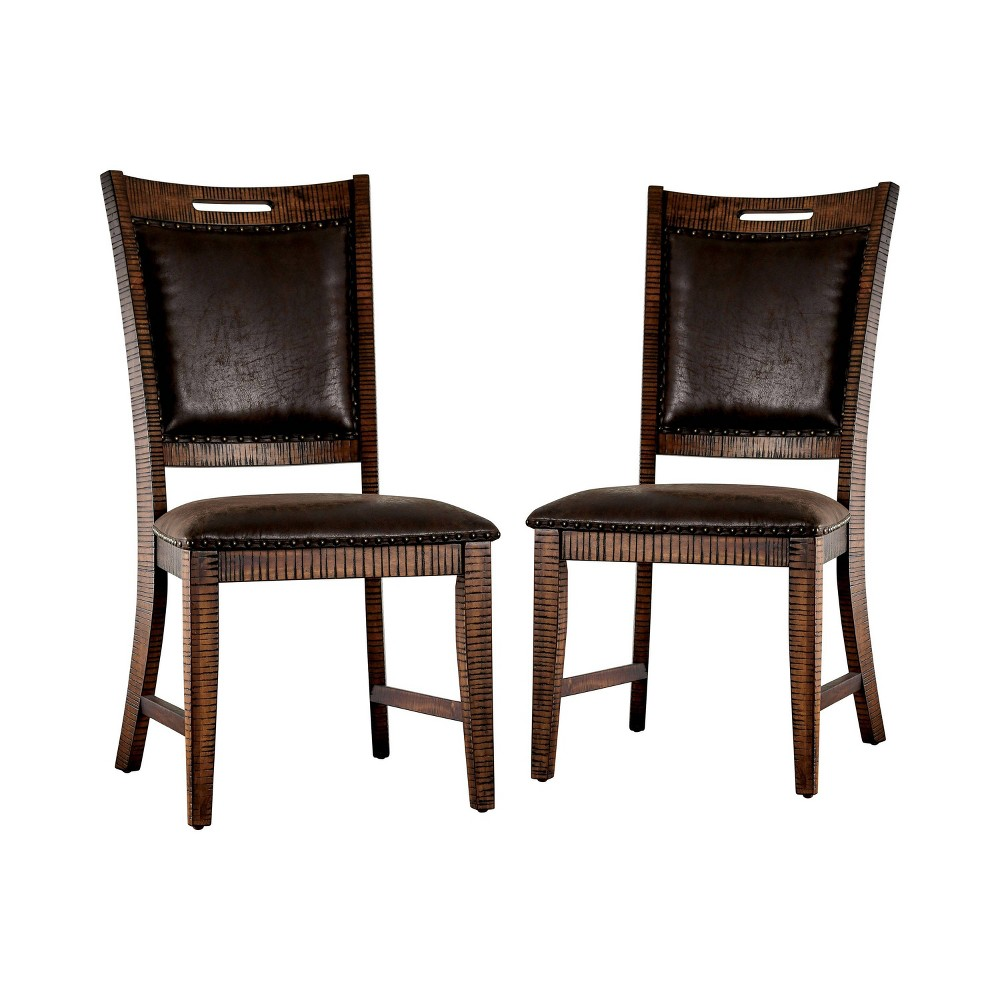 Set of 2 Edinburgh Upholstered Dining Chairs Light Walnut - Sun & Pine