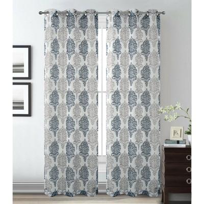 2 Pack Kate Aurora Sparkle Sheer Damask Design Grommet Top Curtains