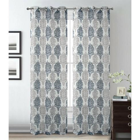 2 Pack Kate Aurora Sparkle Sheer Damask, Sparkle Curtain Panels