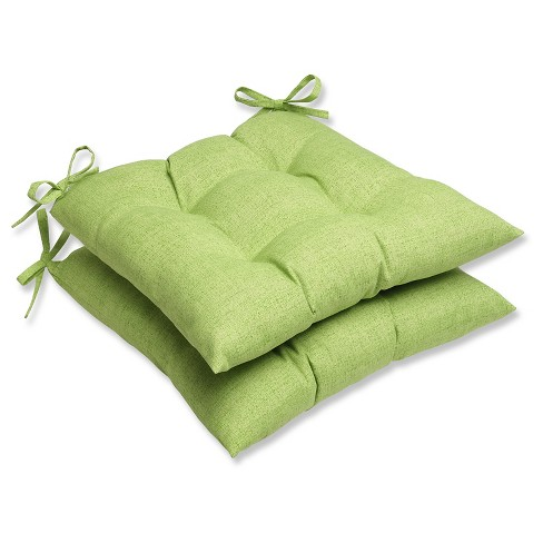 Outdoor 2 Piece Tufted Chair Cushion Set Green Target